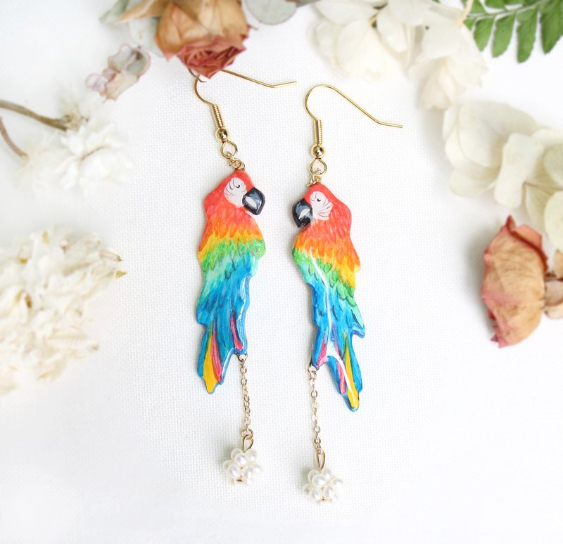 Red and Green Macaw Pearl Ear Hook Earrings / Hand Painted / Bird / Forest
