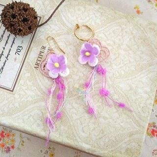 Garohands Forest Fairy Purple Rose Small Flower Lace Ribbon Handle Earring D104 Gift Temperament Romantic Forest