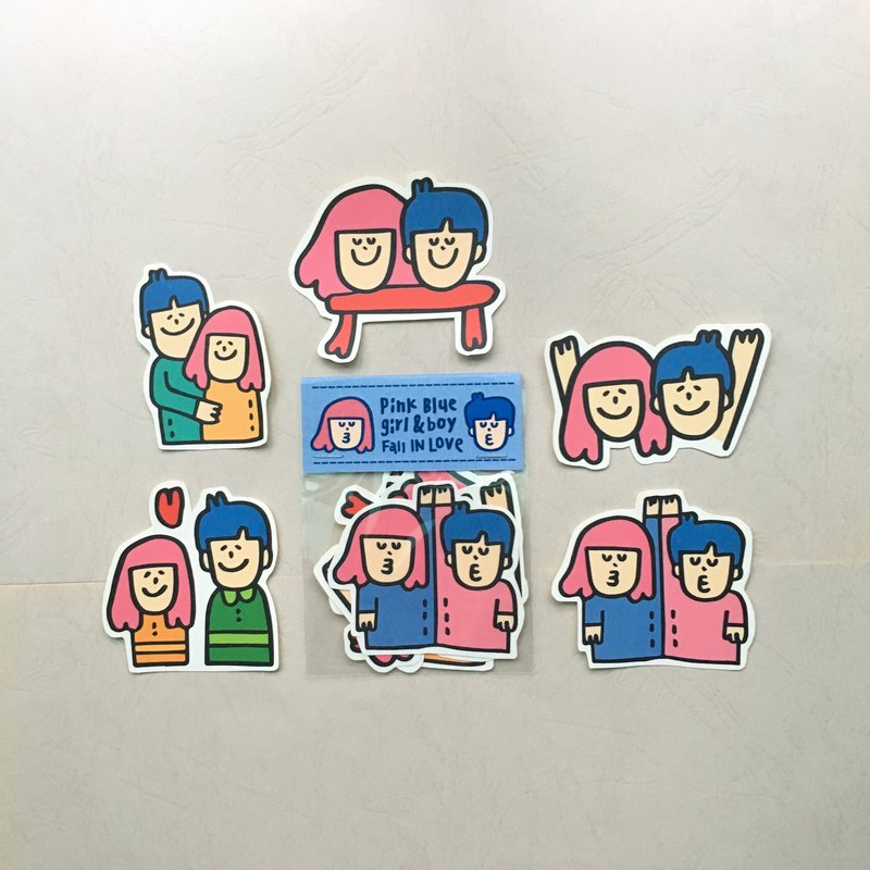 "Blue Pink Couple ""Sticker Group"""