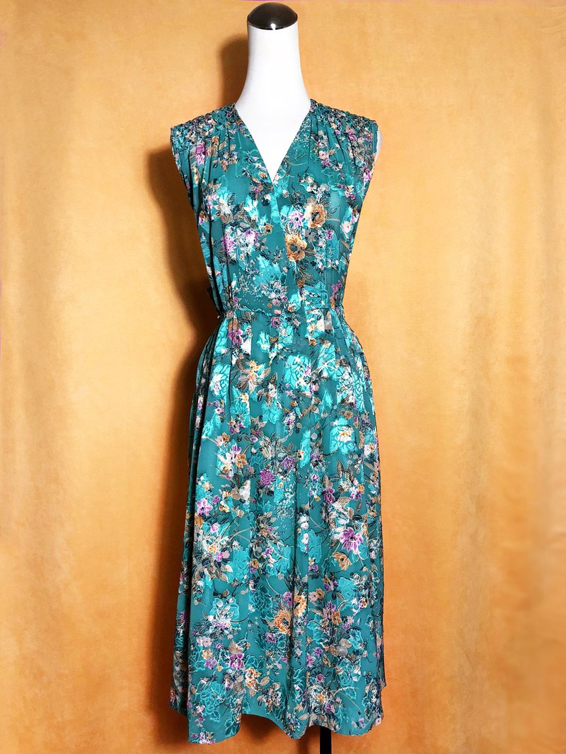 Lake green delicate flowers textured sleeveless vintage dress / abroad to bring VINTAGE
