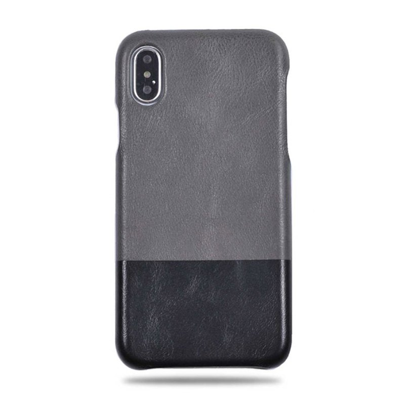Customized light grey with full black leather IPHONE XS MAX phone case
