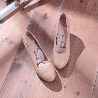 Anna- apricot powder - plain round leather low-heeled