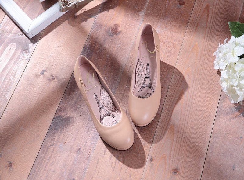 Anna-Apricot Powder - Plain Face Round Leather Low Heel Shoes (not sold out)
