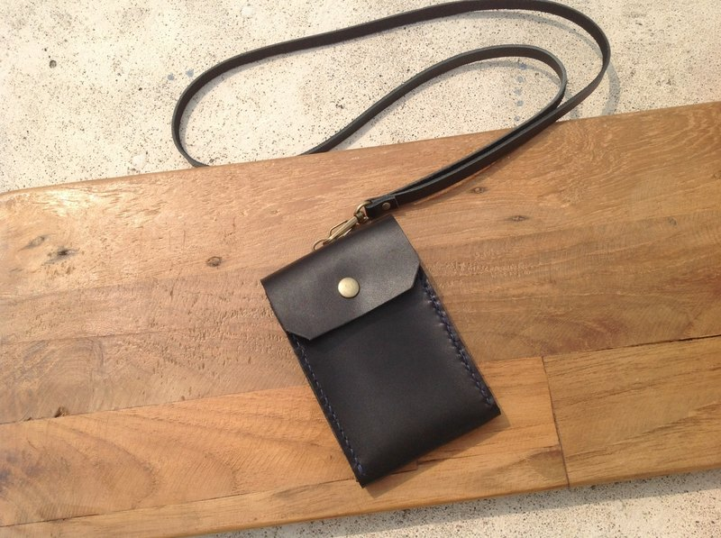 Straight identification card. ID card holder, leisure card holder, card holder, hand-stitched, leather hand-sewn black