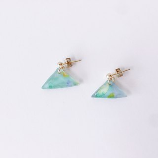 Hill Note Series - Green Hill Dangle Hand-painted Temperament Hand Earrings Ear/Aurture