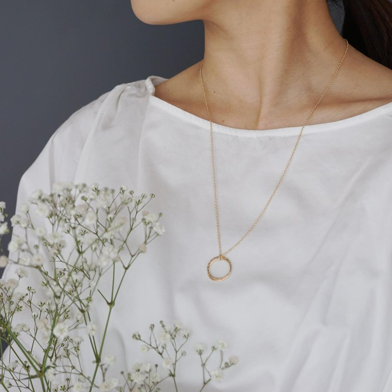 【14KGF】 Double Circle Necklace