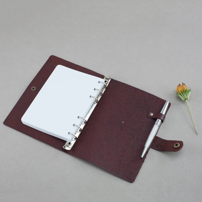 Leather notebook A6 hand account loose-leaf hand-book wine red custom diary leather cowhide lover gift