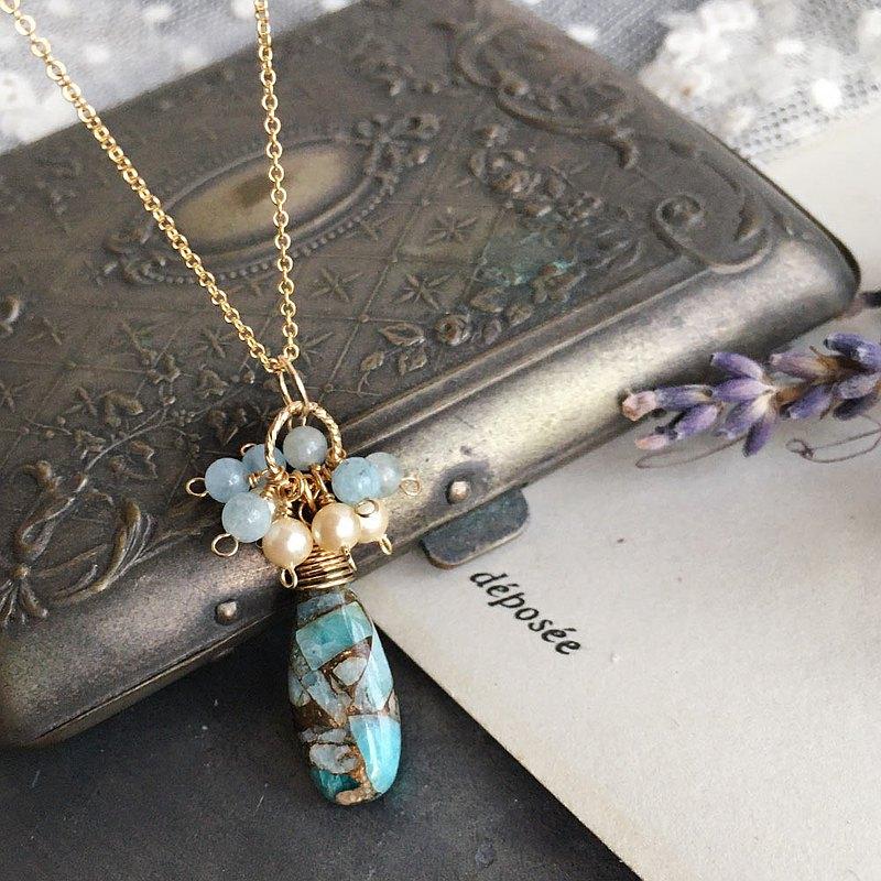 14kgf銅亞馬遜石和海藍寶石花朵吊墜項鍊