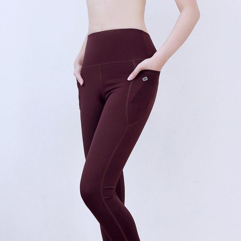 MARSHMARO MOCHI 高腰蜜桃臀側袋緊身拉提運動9分長褲 - 水果酒紅