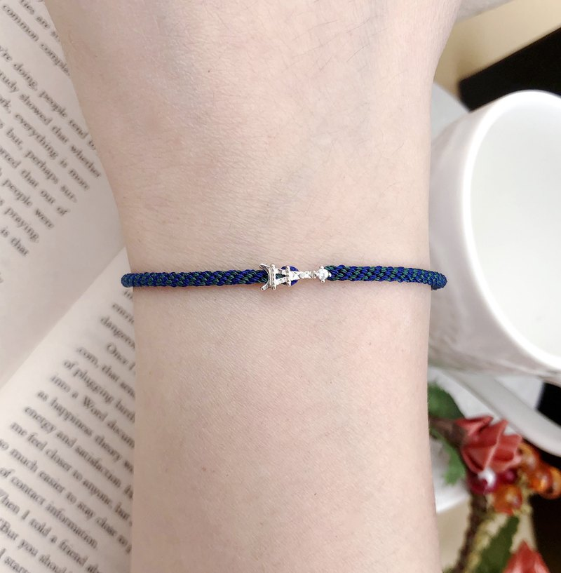 Happiness Line Sterling Silver Tower France Paris Braided Red Line Bracelet Hand Strap Handmade Blue Green