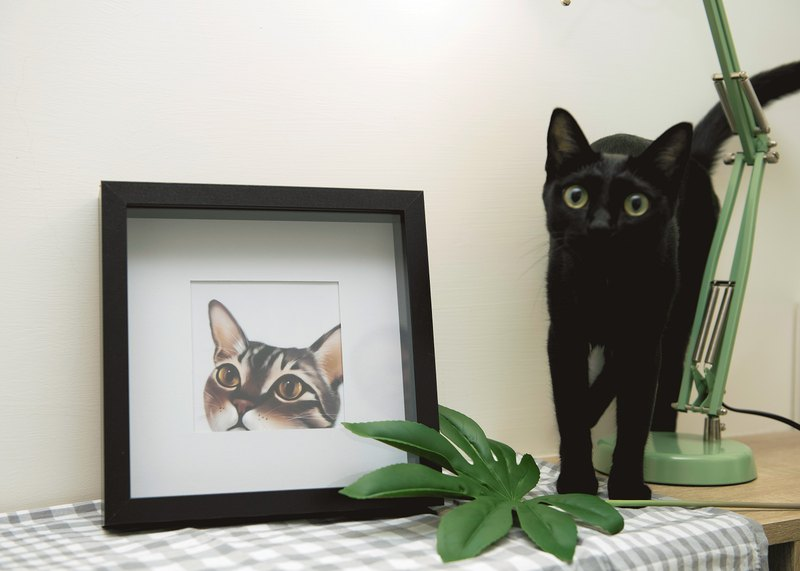 MiFan-customized-pet painting (single area under black wood frame)
