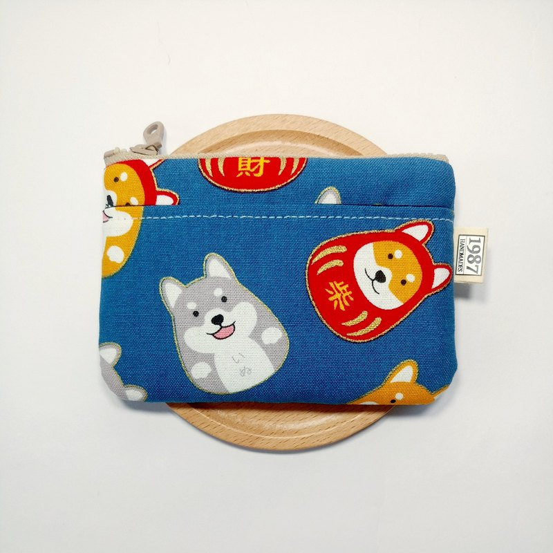 [Fortune Firewood - Blue] Coin Purse Clutch Bag with Zipper Bag Christmas Exchange Gift