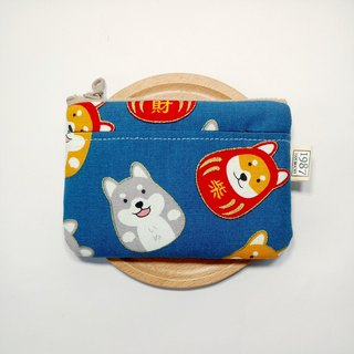 [Fa Cai Chai - Blue] Coin Purse Clutch Bag with Zipper Bag