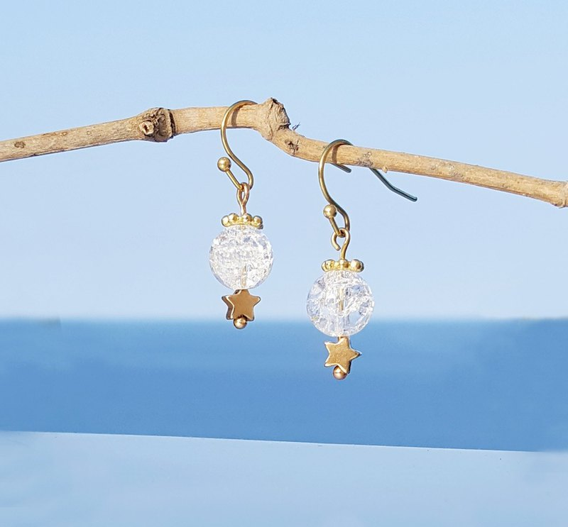 Summer Xinghai Party - Jingsha Popcorn White Crystal Brass Earrings Minimalist Cute Music Sacrifice