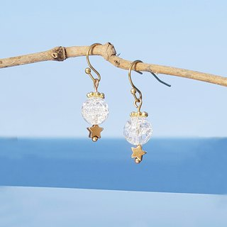 Summer Xinghai Party - Crystal Sand Popcorn White Crystal Brass Earrings Minimalist Cute Musical Sacrifice