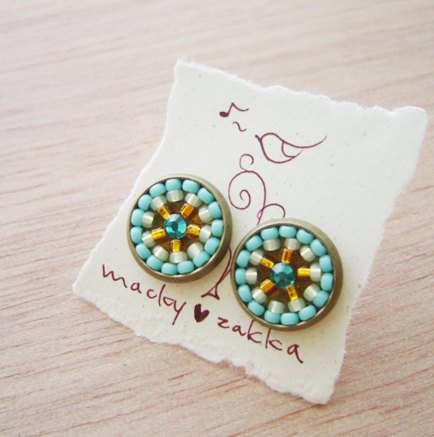 Deco tiles Earrings kaleidoscope sea green golden mosaic beads