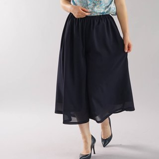 wafu  georgette pants / culottes / bottoms / with liner / navy / bo5-57