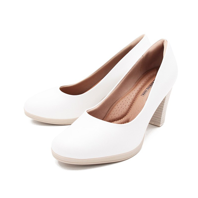 WALKING ZONE SUPER WOMAN Series Round Toe Plain High Heels Women's Shoes-White