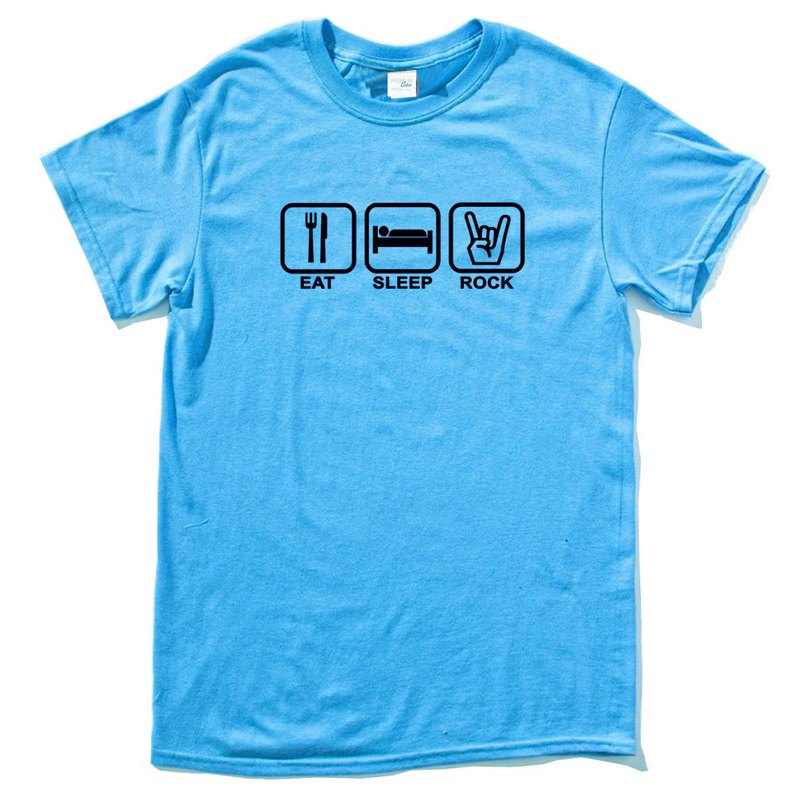 Eat Sleep Rock blue t shirt