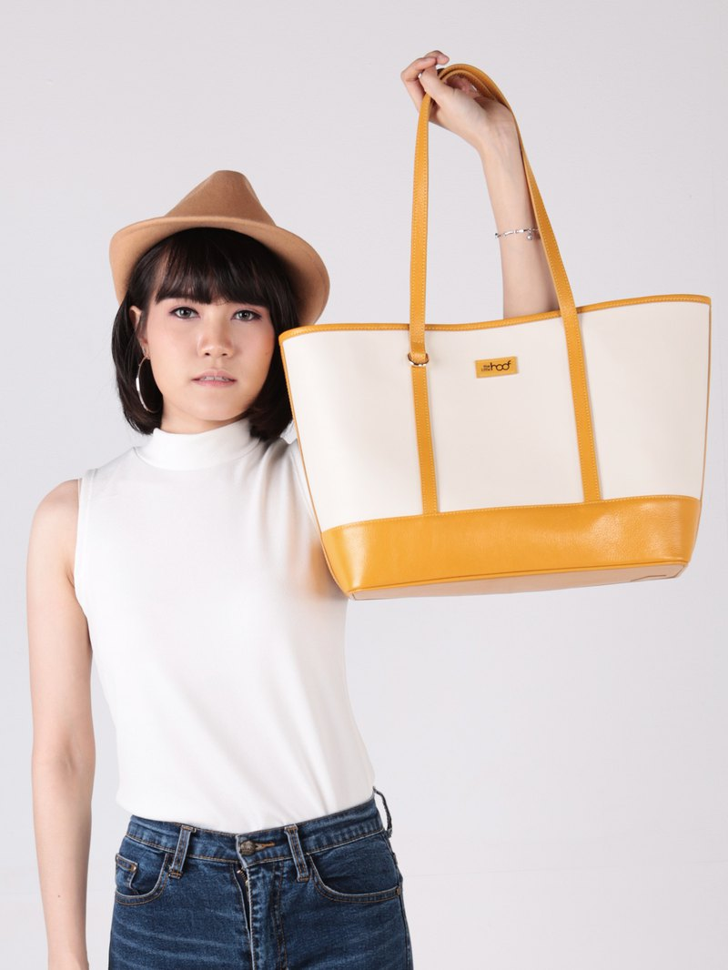 Julia - leather tote bag in yellow and off-white