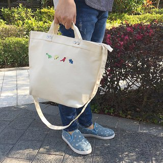 Dinosaur Embroidery Washed Denim 2-Ways Tote / Medium