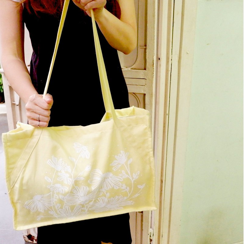 彡LOVELY DAISY FLOWERS彡 linen tote - Yellow Lemon