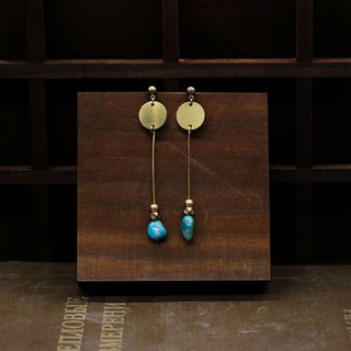 String Series Brass Turquoise Dangle Earrings Ear Pins Without Pierced Ears