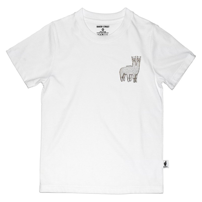 British Fashion Brand -Baker Street- Two-headed Alpaca Printed T-shirt for Kids