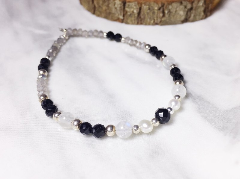 MH sterling silver natural stone custom series _ star sand _ black spinel