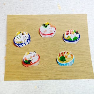 Cat bowl cafeteria stickers / handmade exquisite stickers