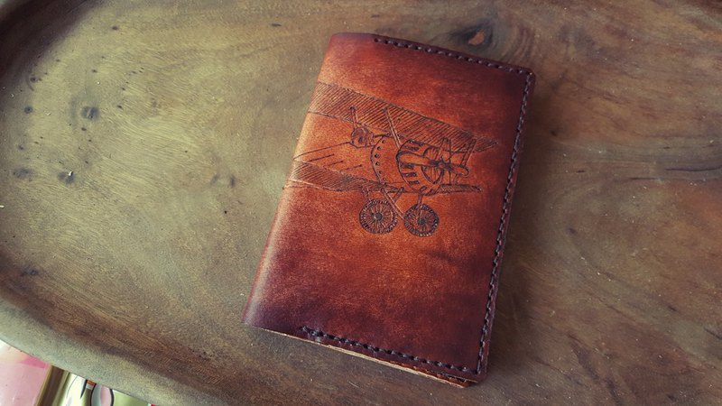 Custom retro light aircraft pure leather passport holder (order lover, birthday gift)