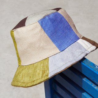 Limited size of a land forest wind splicing hand-woven cotton hat / fisherman hat / sun hat / patch cap / hand hat - blue sky and green grass stitching design wind