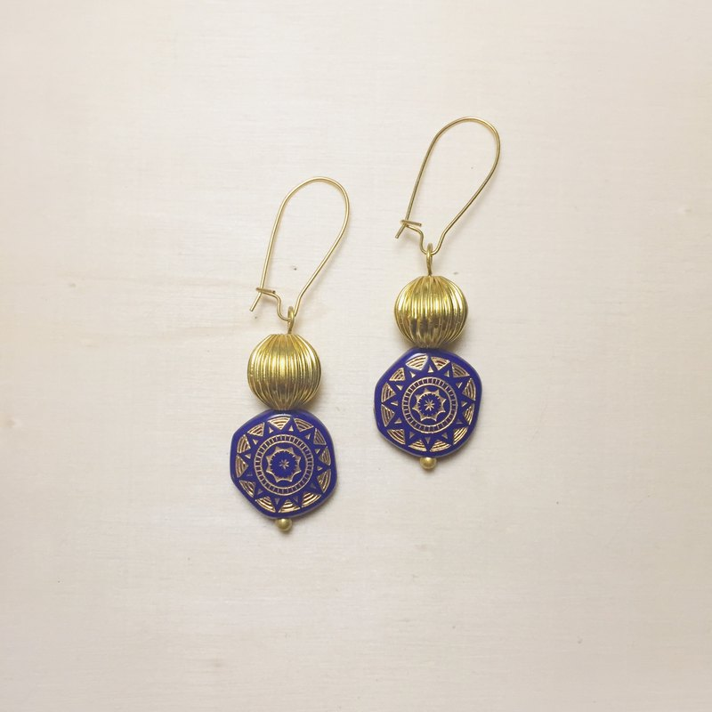 Vintage Dark Blue Magical Array Golden Pumpkin Earrings