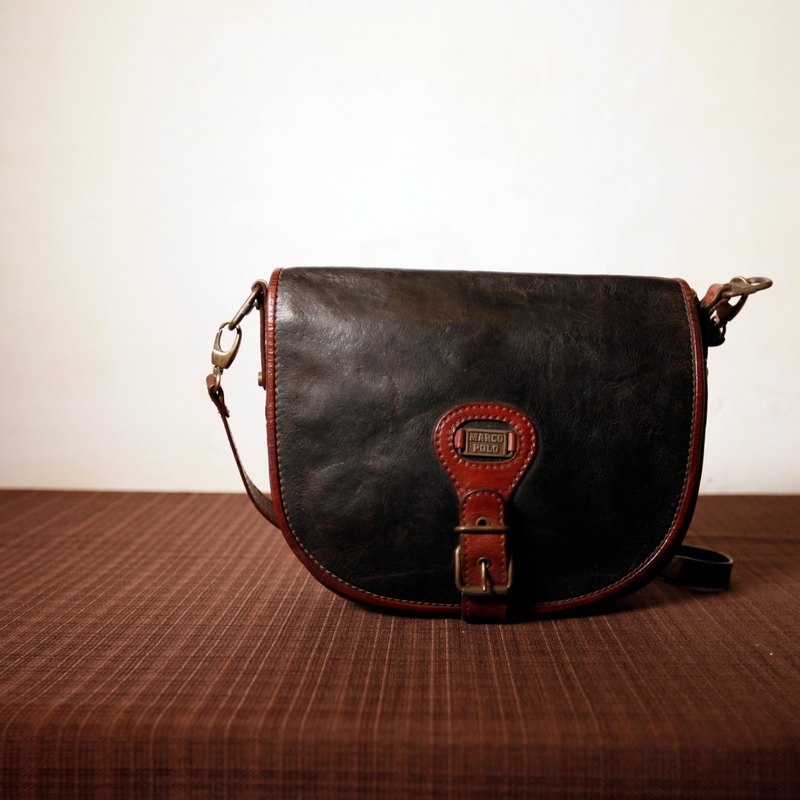 Shika Vintage Bag    Marco Polo black side backpack   antique bag old  leather classic old only this one - Designer modern-times  3fc8dfb1b7142