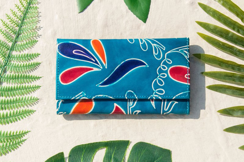 Valentine's Day Handmade Goat Wallet / Hand Painted Japanese Style Leather Wallet / Long Wallet - Blue Ocean