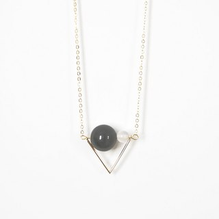 守護旗幟 項鍊 黑曜石 白瑪瑙 Triangle Flag Necklace with Obsidian + White Agate