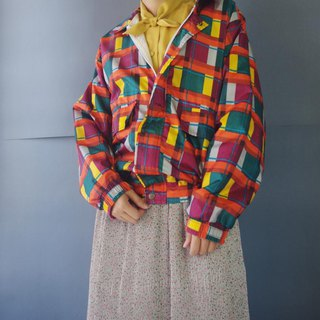 Treasure Hunting Vintage - 80's Colored Plaid Printed Windproof Jacket