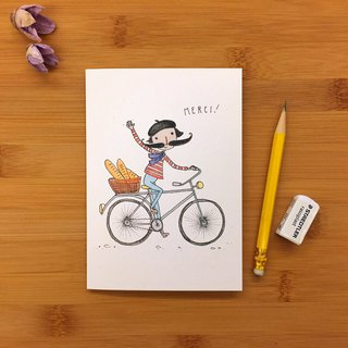 MERCI BIKE bicycle universal card hand-painted illustration of environmentally friendly imported paper card 008 UK