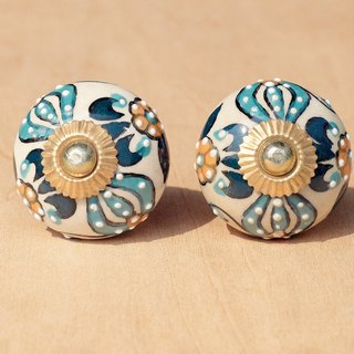 British retro hand-painted ceramic / ceramic doorknob / doorknob ceramic window - blue national wind dimensional carved