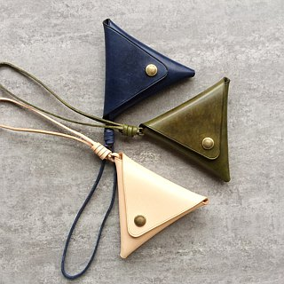 Italy vegetable tanned triangular triangle wallet headset storage package
