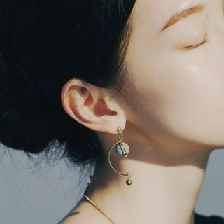 Brass Concrete Half Moon Earrings - A Trip to the  C3CraftStudio x Agaric Garden