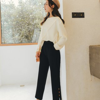 Solid color straight leg pants