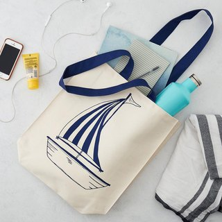 British Egg Cotton Canvas Bag Anchor & Sailboat