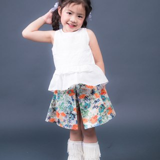Girls floral cotton print skort - Orange cbo