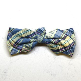 Handmade Tartan/ Plaid Pet Dog Collar Accessory - Bowtie - Sky Blue【ZAZAZOO】