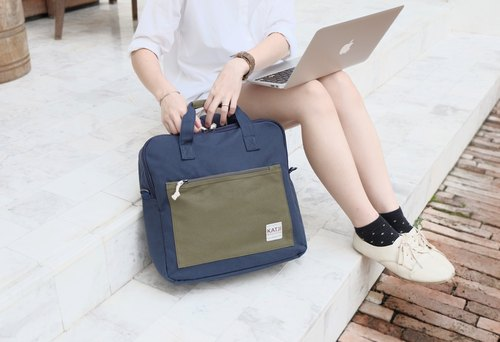 SQUARE UP BAG : NAVY-GREEN COLOUR