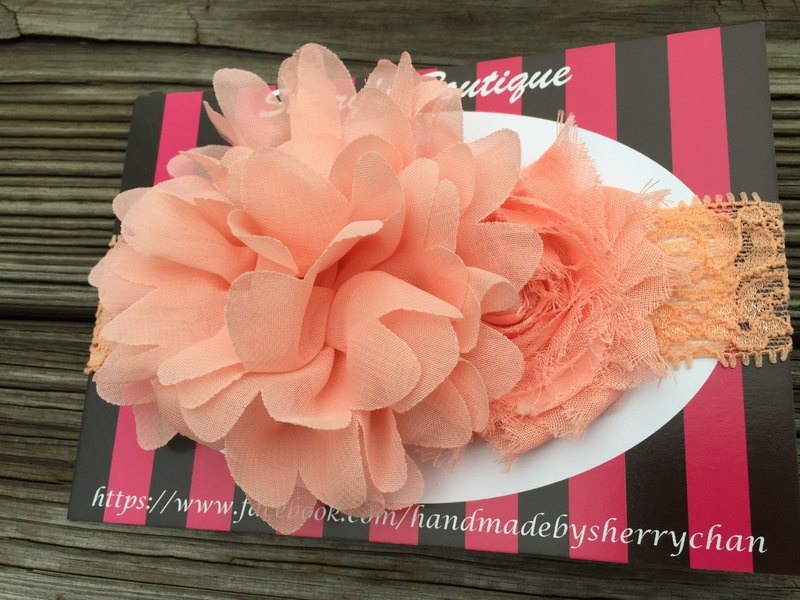 [For baby] pink orange flower lace hair band