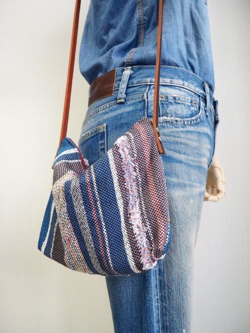 Handwoven Side Bag (Blue & pink)