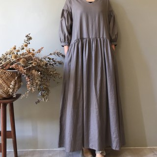 *Xiaoxi poet*V-neck 藕 gray 8 points sleeves extreme long dress