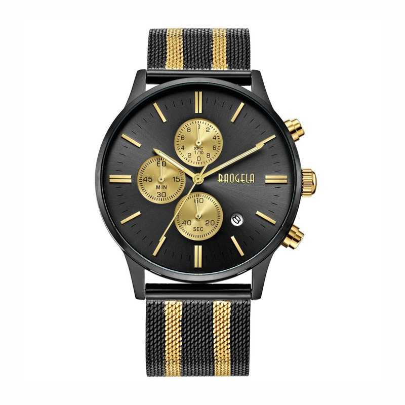 BAOGELA - STELVIO Series Black Gold Dial / Black Gold Milan Strap Adjustable Watch